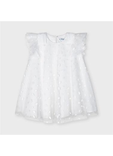 Mayoral Mayoral Kiz Çocuk Puantiyeli Yari Abiye Elbise Beyaz 19908 Beyaz
